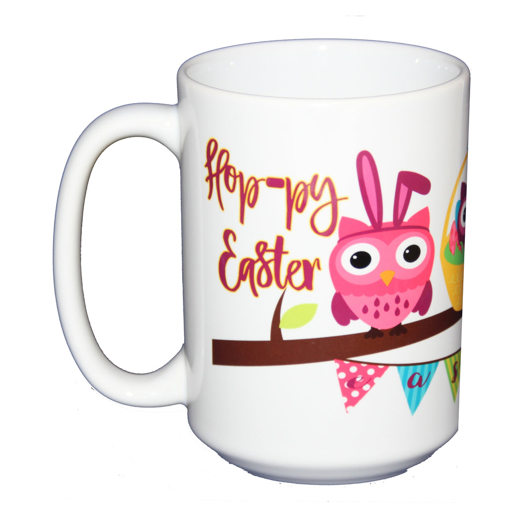 SECOND STRING Hoppy Easter Coffee Mug -  Hostess Gift Adorable Cartoon Owls on a Tree Branch Bunny and Eggs