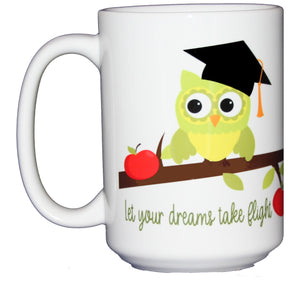 SECOND STRING Graduation Owl on a Branch with Apples - Class of 2020 - 15oz Coffee Mug - Let Your Dreams Take Flight