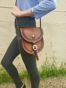 Leather Saddle Bag Purse with Detachable Strap