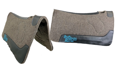 Dark Grey 100% Pressed Wool Colorado Saddlery Saddle Pad with Turquoise Stitching