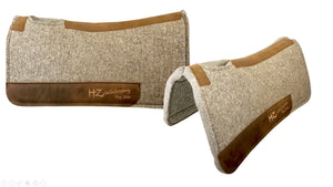 Natural Beige 100% Pressed Wool HZ Cattle Company Saddle Pad with Brown Stitching