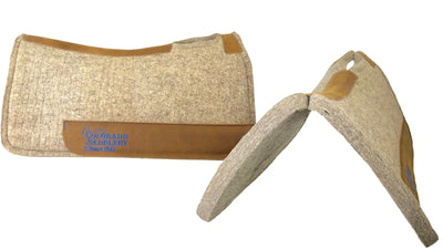 Natural Beige 100% Pressed Wool Saddle Pad with Blue Stitching