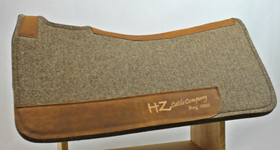 Chocolate Grey 100% Pressed Wool HZ Cattle Company Saddle Pad with Brown Stitching