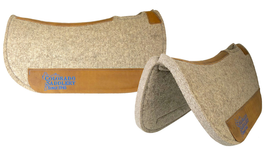 Natural Beige 100% Pressed Wool Round HZ Cattle Company Saddle Pad with Blue Stitching