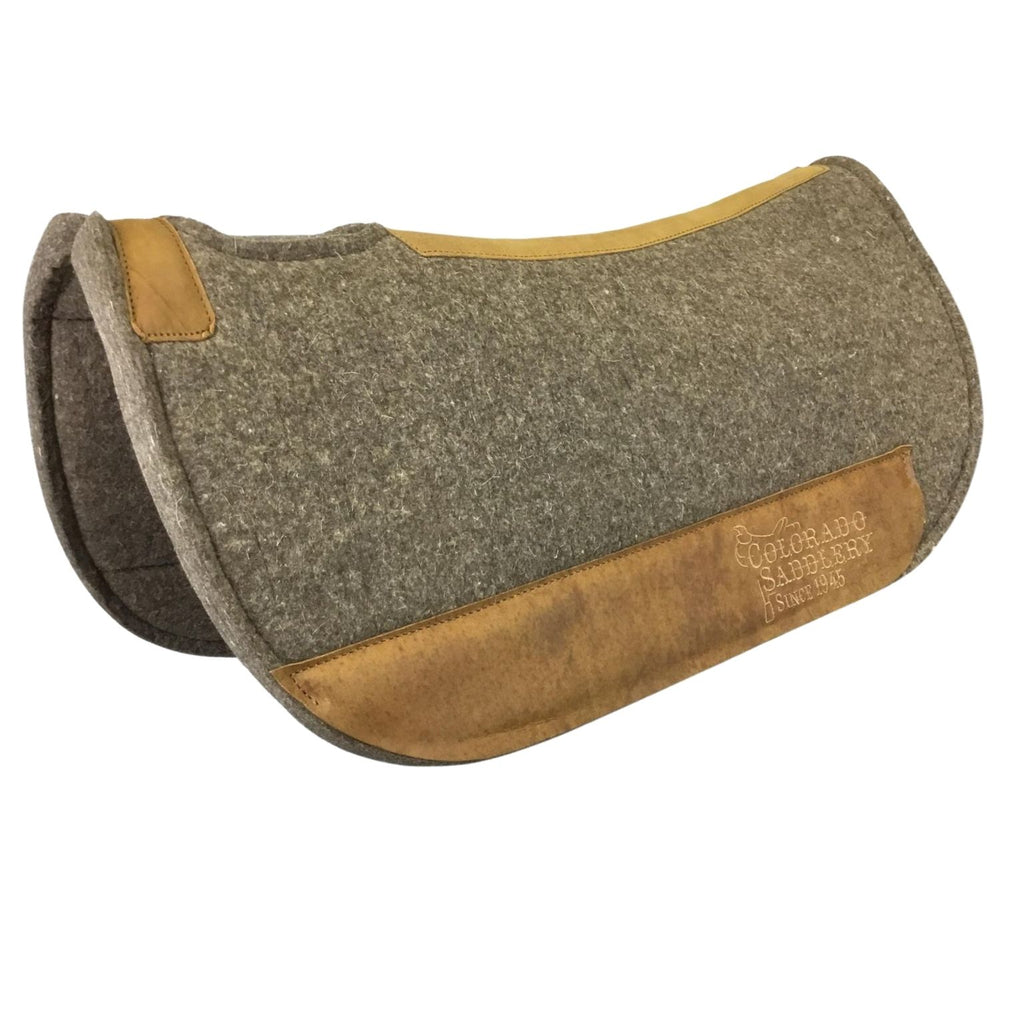 Chocolate Grey 100% Pressed Wool Ultimate Trail Saddle Pad with Brown Stitching
