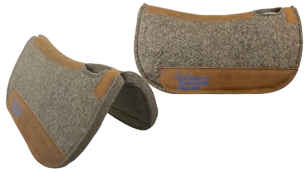 Chocolate Grey 100% Pressed Wool Round Saddle Pad with Blue Stitching