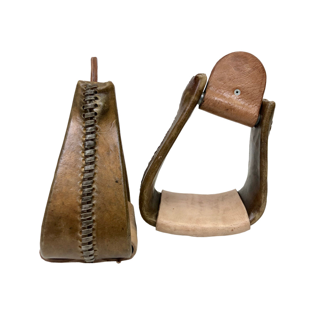 "4"" Natural Rawhide Slanted  Roper Stirrups"