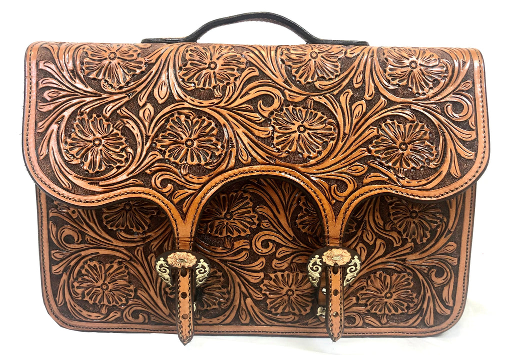 Floral Tooled Briefcase with Cow Hide