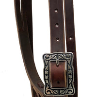 "Pro Series 1 5/8"" Extra Heavy Harness Slit Ear Headstall with Black Base Hardware"