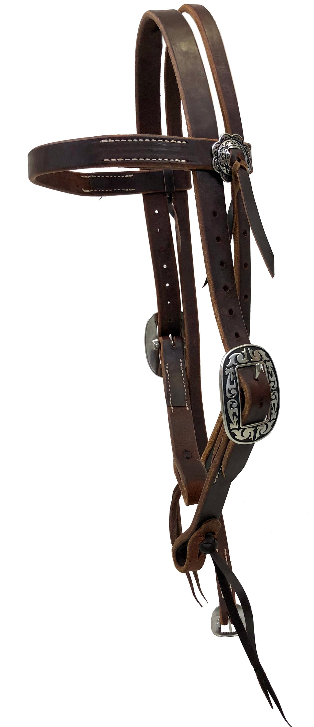 "1 5/8"" Extra Heavy Harness Browband Headstall with Jeremiah Watt Hardware"