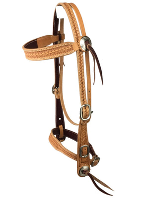 Basket Stamped Old Style Headstall with Noseband