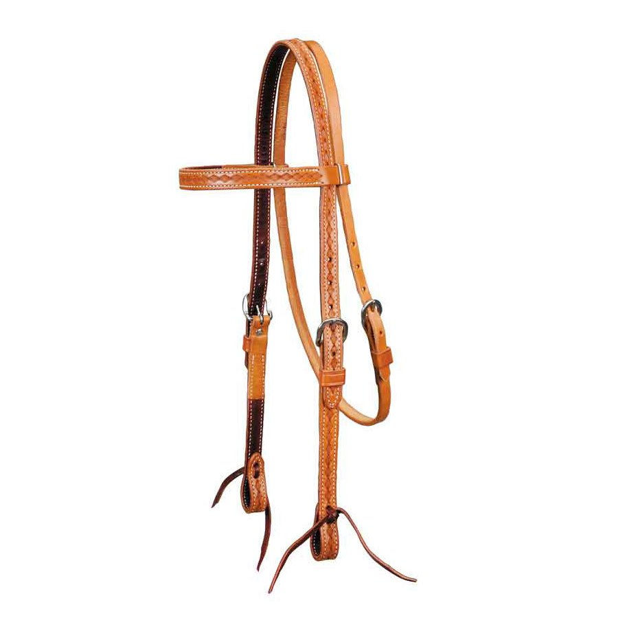 """Colorado Gold"" Border Tooled Headstall"