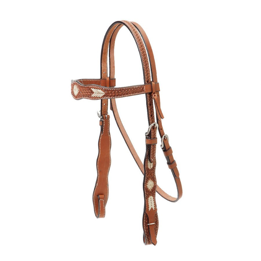 Shaped Browband Headstall with Braided Rawhide Overlay
