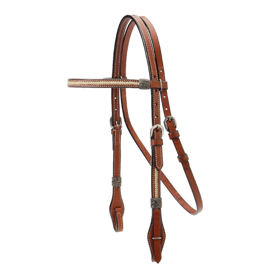 Browband Headstall with Braided Rawhide Overlay