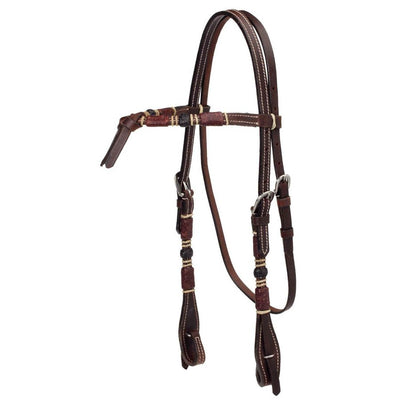Dark Oil Headstall with Rawhide Overlay