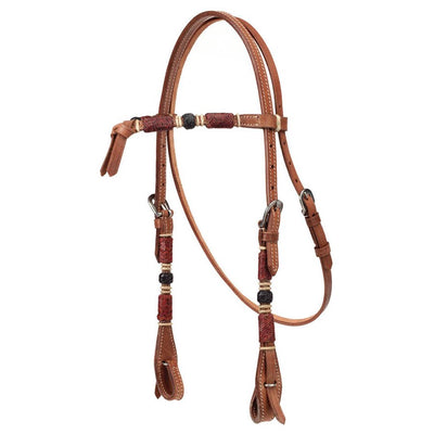 Light Oil Headstall with Rawhide Overlay