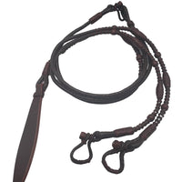 Dark Romel Reins with Red Rawhide