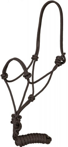 Black Rope Halter with 8' Lead