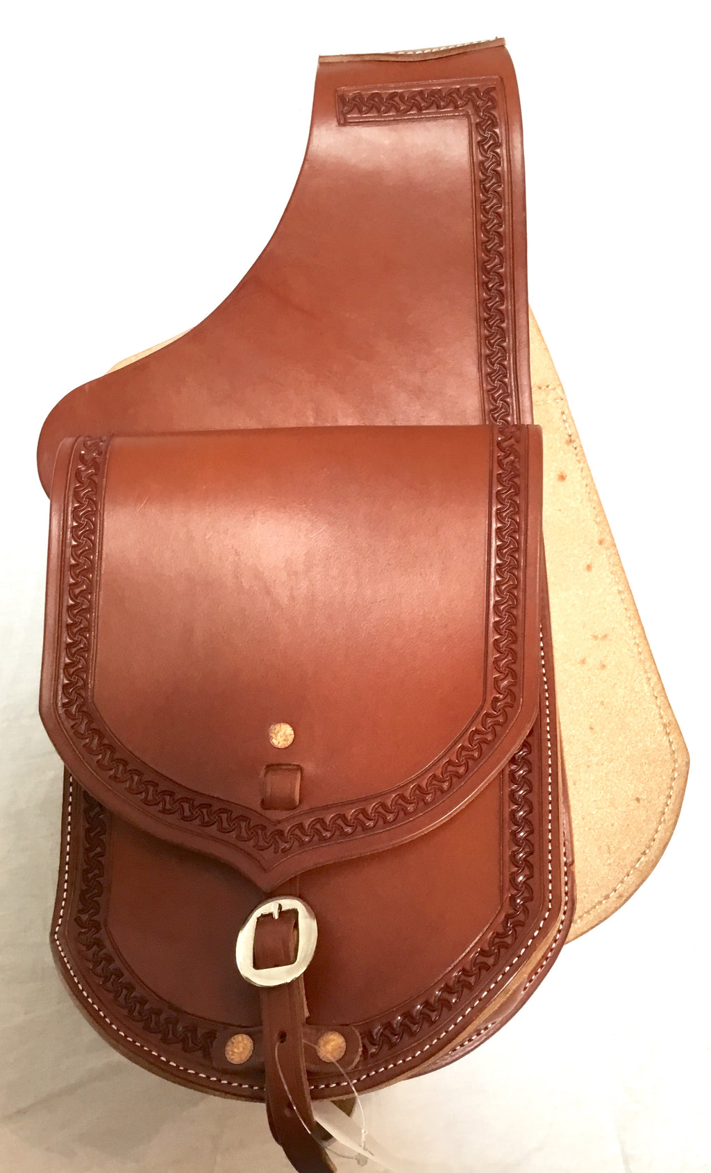 Premium Leather Saddle Bag with Hand Tooled Border- 9""