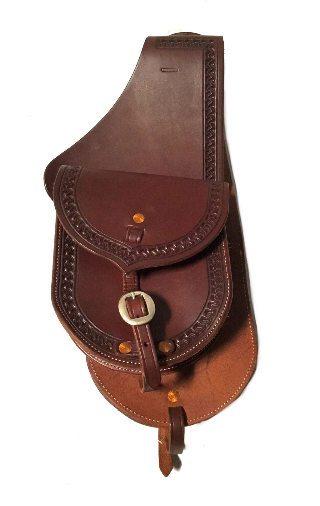 Premium Leather Saddle Bag with Hand Stamped Border- 7""