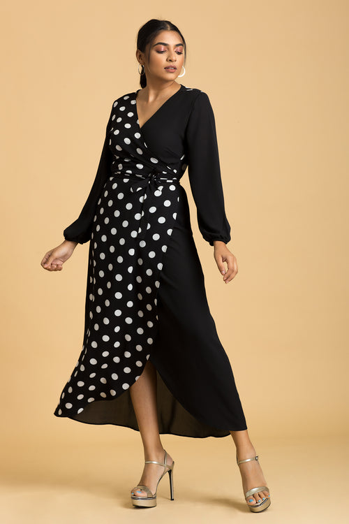 Wrap Front Contrast Maxi Dress