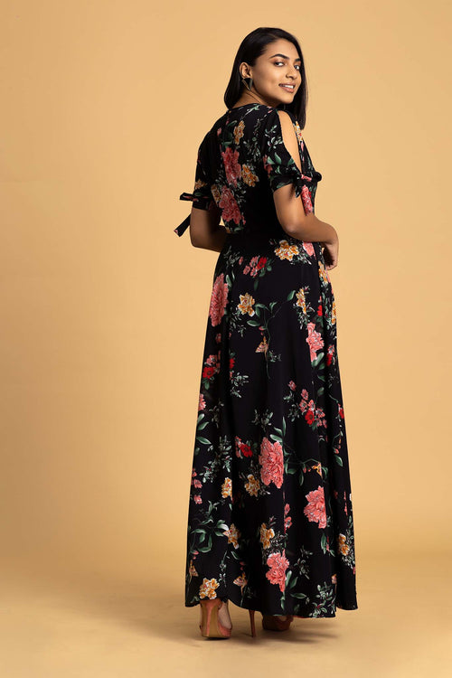 Tie Sleeve Wrap Maxi Dress