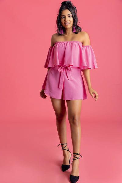 Off Shoulder Two Piece Set - Short