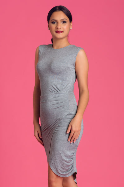 Draped Bodycon Jersey Dress