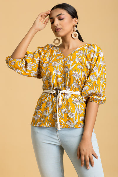Kimono Sleeves Top With Rope Belt