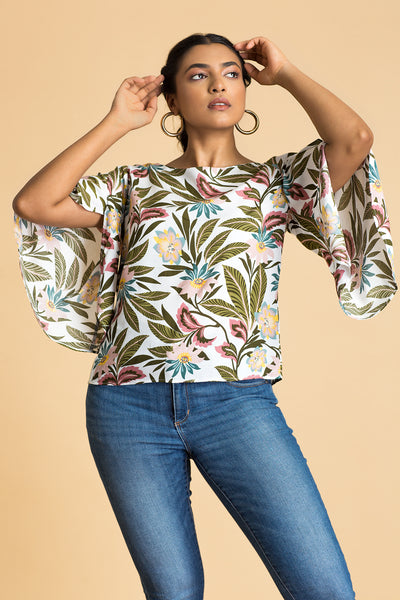 Split Bell Sleeve Top