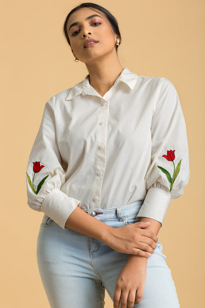 Floral Embroidery Shirt