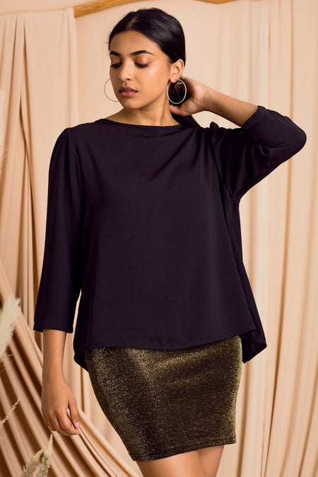 Layered Sleeve Knotted Hem Top