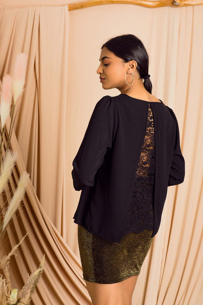 Lace Panel Back Solid Top