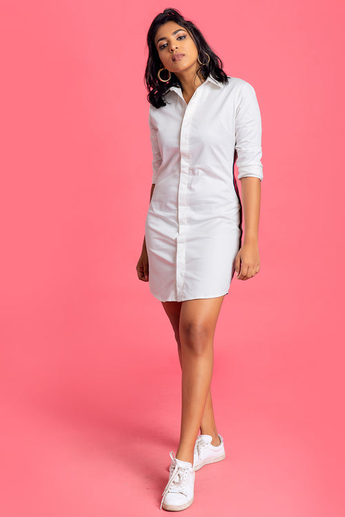 Tape Inserted Shirt Dress