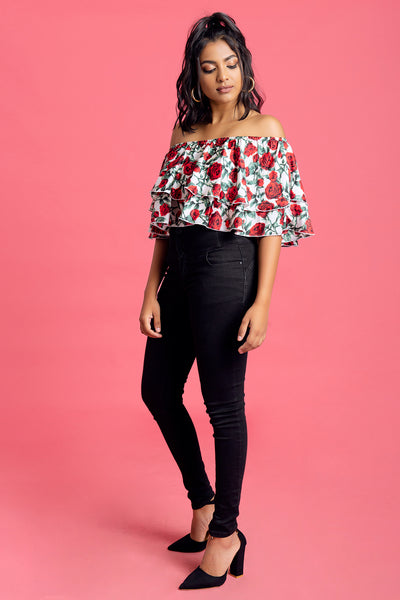 Double Frilled Off Shoulder Top