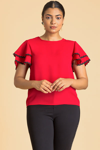 Lace Trim Layered Ruffle Sleeve Top