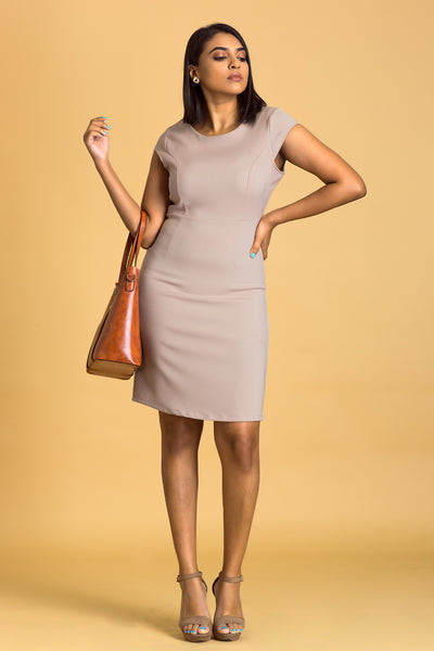 Cap Sleeve Bodycon Dress -Gray/Beige