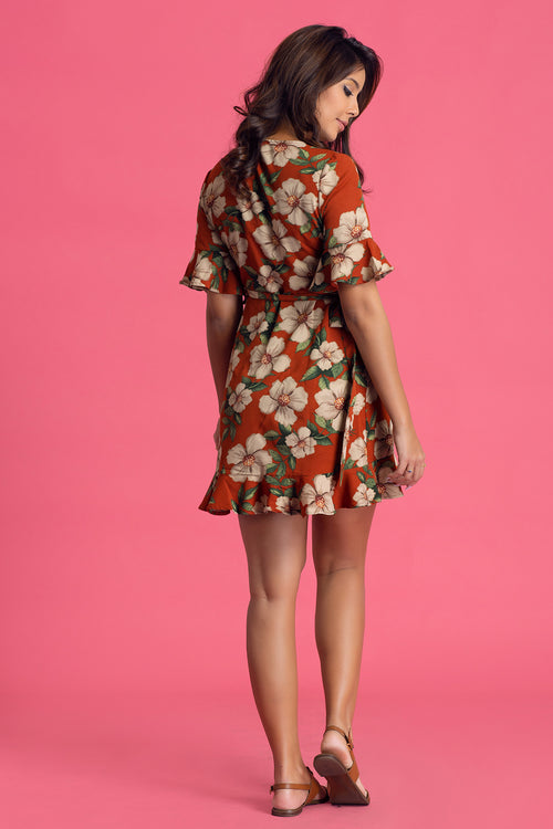 Printed Wraparound Dress