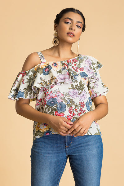Neck Ruffle Fold-Over Top