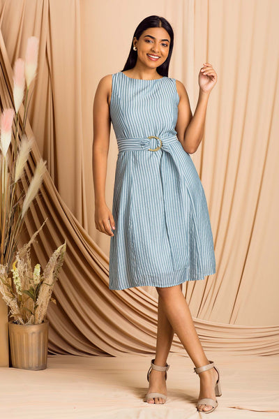 Sleeveless Dress With Buckle Detail