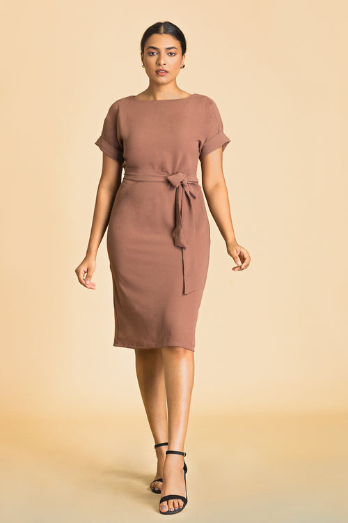 Bat Wing Rolled Up Sleeve Dress
