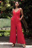Embroiderd Floral Strappy jumpsuit