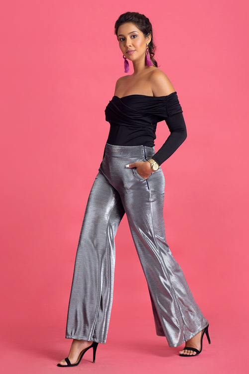 Metalic Wide Leg Pants