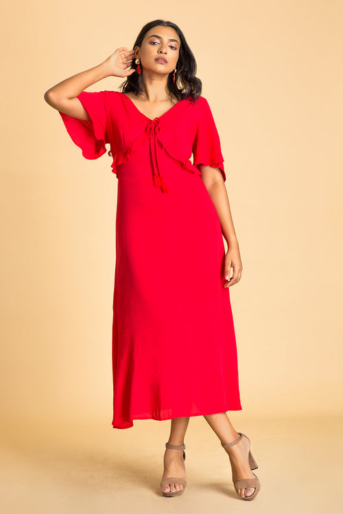 Flounce Sleeve Tie Back Maxi Dress
