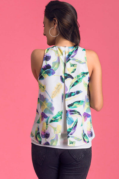 Leaf Printed Back Slit Casual Top