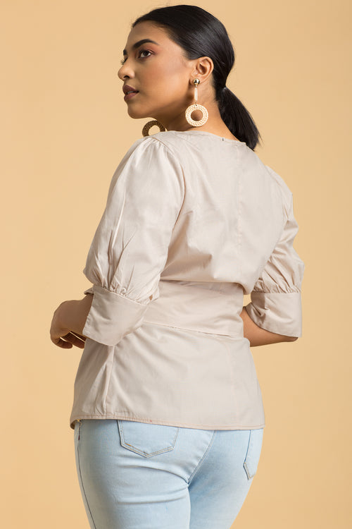 Belted Cotton Blouse