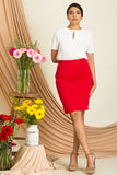 Pleated Front Wrap Skirt