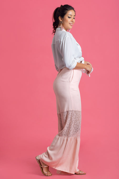 Lace Insert Flare Pant