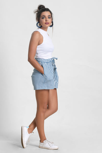 Stripped Chambray Short