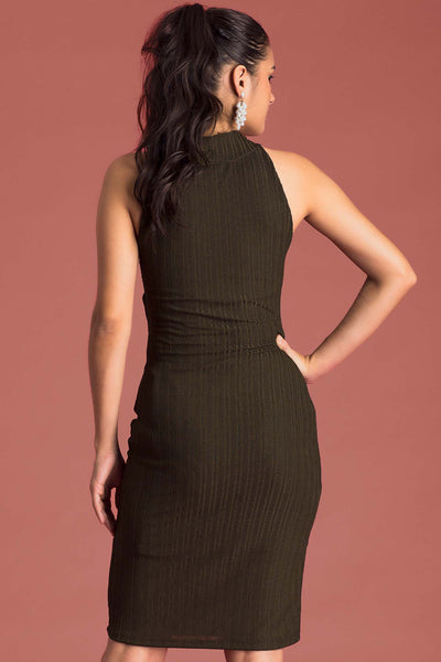 High Neck Pencil Dress